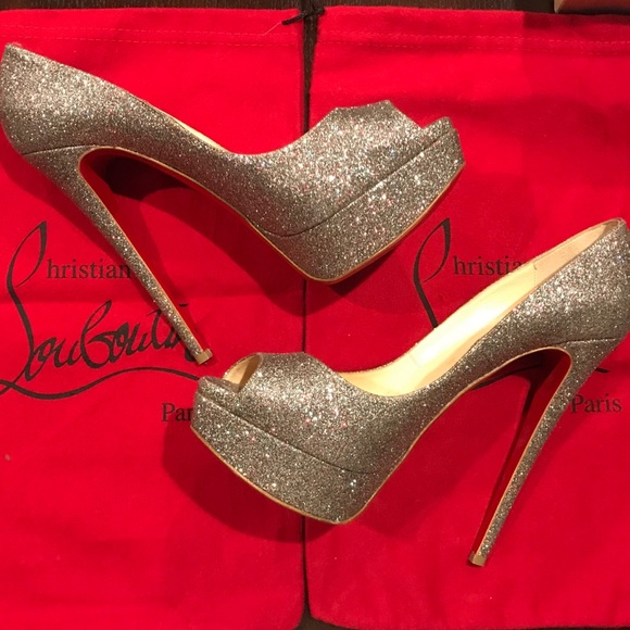 9988cf638ce0 Christian Louboutin Shoes - Christian Louboutin Lady Peep 150 Glitter Mini
